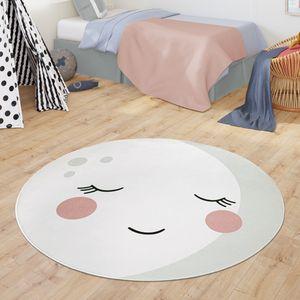 Teppich Kinderzimmer Runder Teppich Babymatte Für Jungs Mädchen Modernes Mond Design, Farbe:Creme, Größe:Ø 150 cm Rund