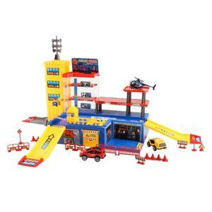 Parkhaus Kinder Spielzeug Parkgarage Polizei Parkplatz Autogarage mit Rennbahn Style1 60 x 35 x 31,5 cm