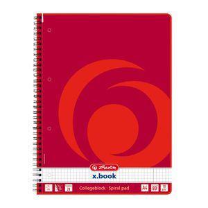 5x Herlitz Collegeblock / DIN A4 / Spiralblock / kariert / 80 Blatt