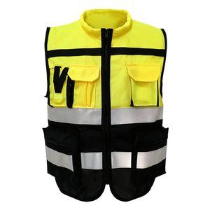 Unisex Sicherheitsreflexionsweste mit Streifen für Den Verkehrswarnbau L XXL Größe XXL 180 Stil Gelb Schwarz
