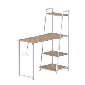 HOMCOM Schreibtisch klappbar mit 4 Tier Bücherregal, Computertisch, Bürotisch, E1 Spanplatte, Metallrahmen, Natur+Weiß, 106 x 48 x 128 cm