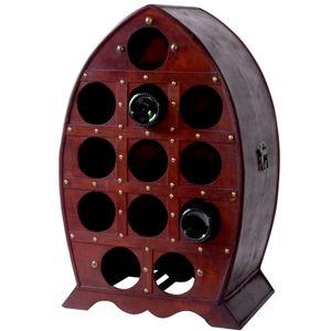 Kolonial Stil Weinregal in braun mit Platz für 12 Flaschen