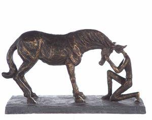 Casablanca Skulptur Comprehension Figur Pferd mit Reiterin Bronze Optik