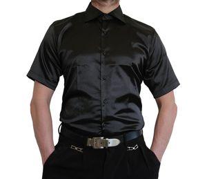 Herren Designer Glanzhemd kurzarm glanz hemd bügelleicht Satin New Kent Kragen kurz arm Gr. M-3XL, Farbe Hemd:Schwarz, Größe S-M-L usw:XL