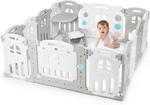 COSTWAY Laufgitter mit Tisch und Hocker, Baby Laufstall faltbar, Absperrgitter aus Kunststoff, Krabbelgitter, Spielzaun für Kinder, Schutzgitter mit Tür und Spielzeugboard