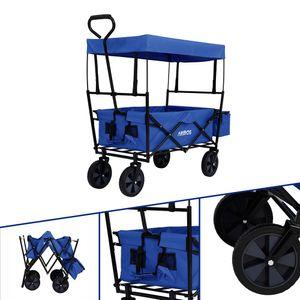 AREBOS Bollerwagen Faltbar Dach Handwagen Klappbar Transportkarre Gerätewagen Blau