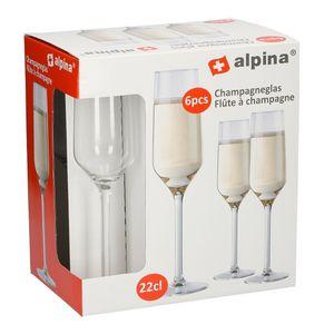Alpina 86428 Champagnerkelch 220 ml, Glas, klar (6er Pack)