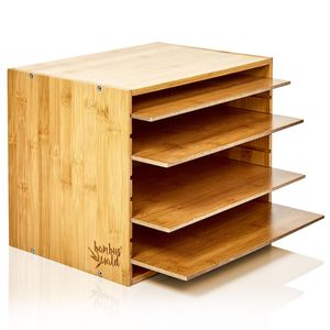 blumfeldt Ablagebox Briefbox Dokumentenablage Organizer , 5 Fächer , Maße: 30,5 x 24 x 22,5 cm , variabel steckbare Fächer , modernes Design , Bambus