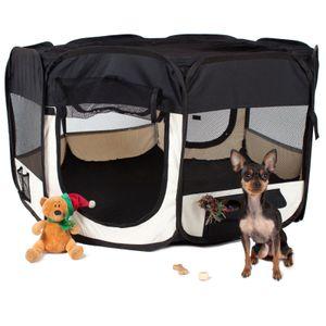 Welpenlaufstall für Tiere Tierlaufstall Laufstall Hunde Katzen |8-seitige Runde |Abnehmbar +faltbar Schwarz