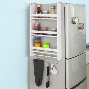 SoBuy® FRG150-W Hängeregal für Kühlschrank mit 5 Haken Türregal Küchenregal Gewürzregale mit 3 Ablagen, BHT ca.: 44,5x73,5x20cm