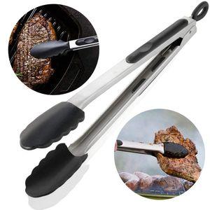 HLHBDSM Küchenkochzange mit 600ºF hohen hitzebeständigen Antihaft-Silikonspitzen und Edelstahlgriff für Lebensmittelgrill, Salat, Grill