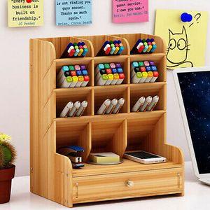 Büro Schreibtisch Organizer Stiftehalter Holz Schreibtischbox Schubladen Storage Tippe A