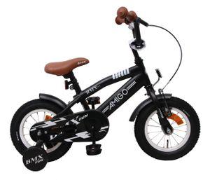 Amigo BMX Fun - Kinderfahrrad für Jungen - Jungenfahrrad 12 zoll - Kinderfahrader ab 3-4 Jahre - Schwarz