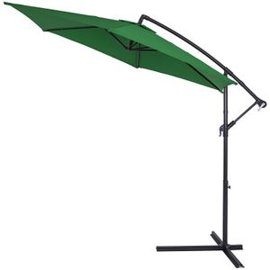 Sonnenschirm Ø330cm UV Schutz 40+ Ampelschirm Marktschirm Gartenschirm Kurbel , Farbe:grün