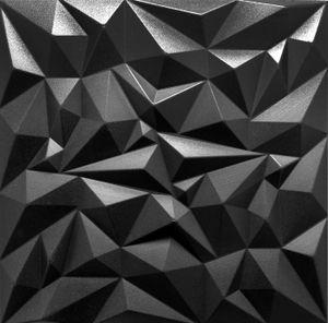 |5qm-20 Stück| 3D Wandpaneele Wandverkleidung Deckenpaneele Platten Paneele XPS Modern Amethyst Schwarz 50x50 cm