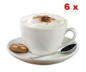 Esmeyer 6 Cappuccino-Tassen 0,30 ltr. mit Untertasse aus weißem, schweren Porzellan Form BISTRO , 433-213