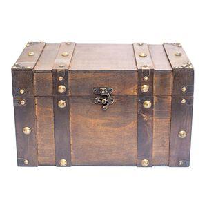 Truhe, Holzbox, Holztruhe, Schatztruhe, Kiste, dunkelbraunGröße L Höhe ca. 21,5cm, Breite ca. 34cm, Tiefe ca. 20cm