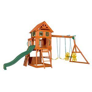 Backyard Discovery Spielturm Holz Atlantic | Stelzenhaus für Kinder mit Rutsche, Schaukel, Kletterwand | XXL Spielhaus / Kletterturm für den Garten
