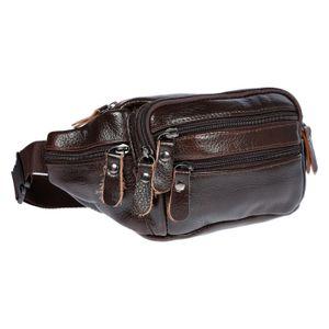 Leder Bauchtasche  für Herren Damen Schwarz Braun Waistbag Hüfttasche Waist Bag Braun