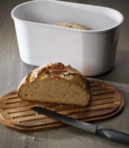 Echtwerk Brotbox 'Fresh' Brotkasten mit Akazienholz/Melamin Schneidebrett, Farbe:Creme