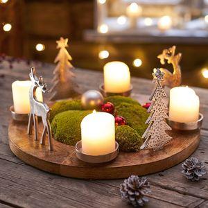 Adventskranz Rentiere Mangoholz Weihnachtskranz Tischkranz Kerzenhalter Ø40cm