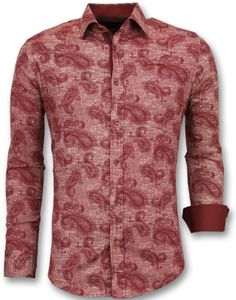 Coole Hemden - Hemden Slim Fit - Rot - XXXL