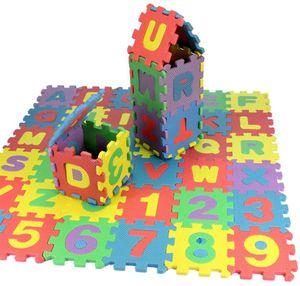 Kinderteppich Spielmatte Lernteppich Puzzlematte (12x12 cm) Zahlen und Alphabet Matte 36 Stück