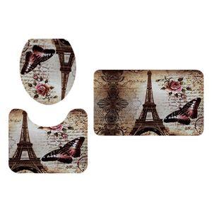 3 Stück Badezimmer Landschaft Muster Toilettendeckel Abdeckung Sockelmatte Eiffelturm Größe Eiffelturm