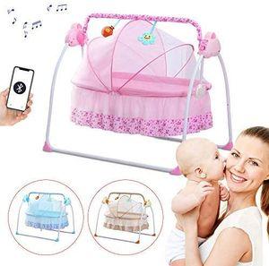 Automatik Babyschaukel Babywiege Babywippe Schaukelstuhl Baby-Wiege Matte USB Mit Liedern +Timer (Rosa)
