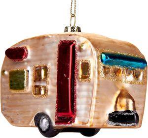 Brubaker Wohnwagen - Handbemalte Weihnachtskugel aus Glas - Mundgeblasener Christbaumschmuck Figuren lustig Deko Anhänger Baumkugel - 11 cm