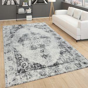 Teppich Für Wohnzimmer, Vintage-Kurzflor Mit Orient-Design, Meliert Grau, Grösse:120x170 cm