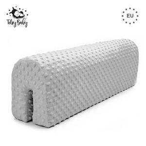 Bettkantenschutz Kinder Schaumstoffbettschutz Bettumrandung Kinderbetten Schutz für Rausfallgitter Kantenschutz Babybett Minky (Hellgrau, 70 cm)