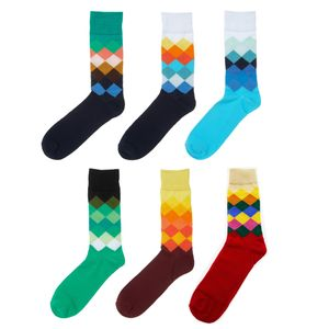 6 Paar lustige und bunte Socken in Damensocken Herrensocken 70 % Baumwolle 39 - 41 Rauten