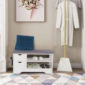 Schuhbank Schuhschrank Schuhregal Sitzfläche Sitzbank mit Seitentaschen 2 Ablagen & Schubladen 30 x 80 x 46 cm