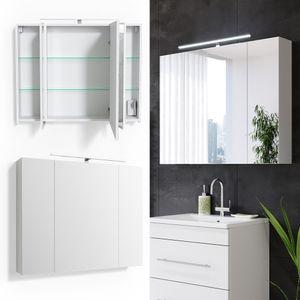 VICCO Spiegelschrank Badschrank RICK 90cm LED Beleuchtung Badspiegel Wandspiegel
