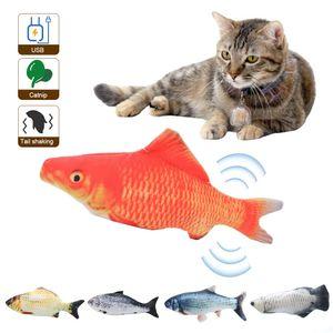 6er Set Elektrische USB-Ladesimulation Fisch Katzenspielzeug Lustige interaktive Kontakte Katzen Katzenminze Spielzeug für Katze Kaetzchen Kaetzchen-Perfekt zum Beissen Kauen Treten