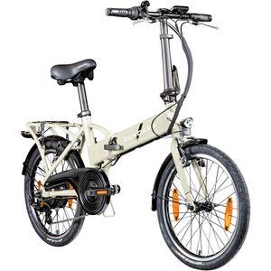 Zündapp Z101+ 20 Zoll E Bike Klapprad Klapp E-Bike E Faltrad Elektro Klappfahrrad Elektrofaltrad Pedelec StVZO 6 Gänge, Farbe:beige, Rahmengröße:37 cm