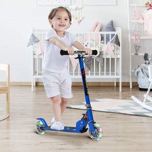 GOPLUS Kinder Roller Scooter klappbar Tret Roller Cityroller Kickscooter mit LED R?der St?nder ab 4 Jahre bis 70 kg (blau)