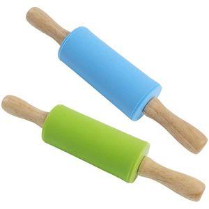 HLHBDSM 2 Stück Silikon-Nudelholz, Teigrolle, Antihaft-Oberfläche, ergonomische Griffe, hitzebeständig bis 200 ° C, geeignet für Kinder und Erwachsene,Nudelhölzer,HM-04028