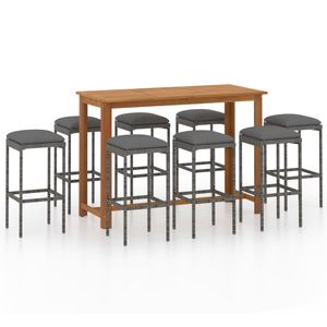 9-TLG. Gartenbar-Set, 8 Barhocker + Tisch, Garten-Essgruppe Sitzgruppe für 8 Personen mit Kissen Grau☆4561