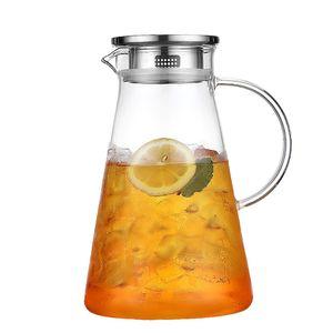 CANDeal Glaskrug 2L Glaskaraffe mit Deckel Glaskaraffe Wasserkrug aus Borosilikatglas Wasserkaraffe Wasserkrug Glaskaraffe Getränkekaraffe