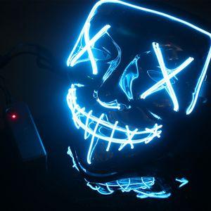 LED Grusel Maske Blau - wie aus Purge mit 3X Lichteffekten, steuerbar, für Halloween als Kostüm