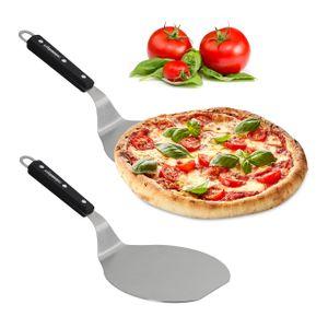 relaxdays 2 x Pizzaschieber mit Holzgriff, Pizzaheber Pizzawender, Ofenschaufel Pizza