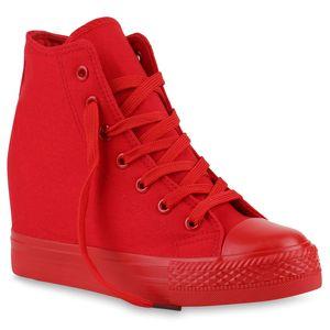 Mytrendshoe Damen Sneakers Keilabsatz Sneaker-Wedges Trendfarben Stoffschuhe 816724, Farbe: Rot, Größe: 38