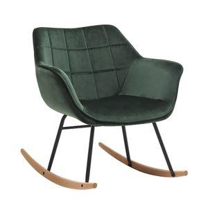 Duhome Schaukelstuhl Schwingsessel Stoff Samt dunkel grün gesteppt Sessel Gestell Metall Holz