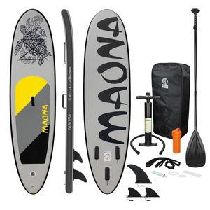 ECD Germany Aufblasbares Stand Up Paddle Board Maona | 308 x 76 x 10 cm | Grau | PVC | bis 120kg | Pumpe Tragetasche Zubehör | SUP Board Paddling Board Paddelboard Surfboard | verschiedene Farben