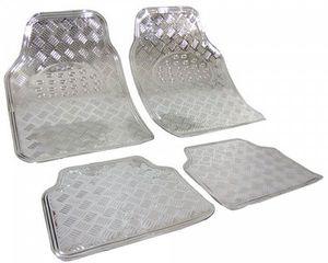 WOLTU Universal Auto Fußmatten 4-teilig Alu Chrom Optik silber