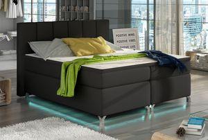 Boxspringbett Polsterbett Bett Bettkasten LED 180x200 Kunstleder schwarz
