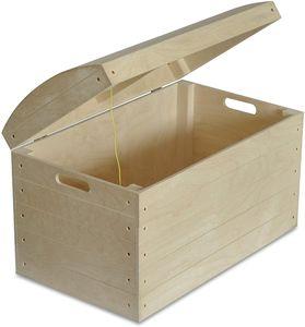 Creative Deco Große Holztruhe Holzkiste Truhenbank | 56,5 x 33 x 36,5 cm | Schatztruhe mit Deckel und Griffen | Unbehandelt Piraten Kasten | Holzbox Kiste Aufbewahrungsbox Spielzeugkiste