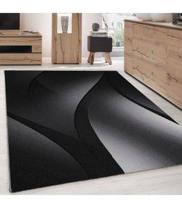 Kurzflor Teppich Wohnzimmerteppich Design Schatten Muster Grau Schwarz Meliert, Grösse:160x230 cm